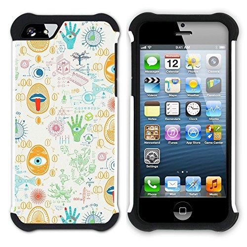 Graphic4You BLACK STRIPES Muster Hart + Weiche Kratzfeste Hülle Case Schale Tasche Schutzhülle für Apple iPhone SE / 5 / 5S Design #16