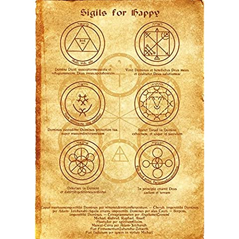 Sigilli per Happy Scroll Geni Kabbalah manifesto wicca rune pagana Stampa artistica strega Magick