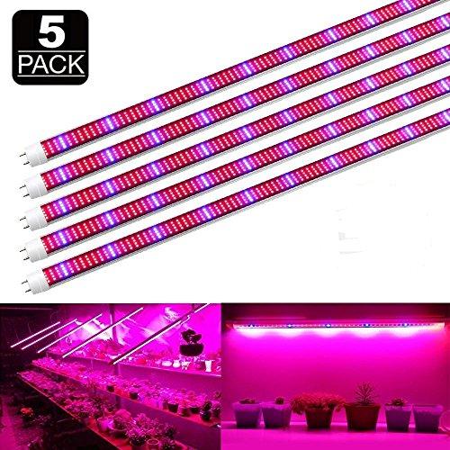 5 Stück 1.2M T8 LED Pflanzenlicht 60 Watt Vollspektrum-Pflanze wachsen Licht für Zimmerpflanzen Veg Blumen