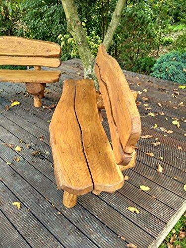 Gartenbank aus Massivholz | Farbe Eiche – Parkbank aus Akazien- und Tannenholz | Perfekt als Geschenk - 8