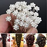 #5: Cgt Bridal Pearl Flower Clear Crystal Rhinestone Hair Pins For women