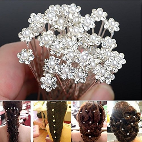 Cgt 20Pcs Fashion Wedding Bridal Pearl Flower Clear Crystal Rhinestone Hair Pins
