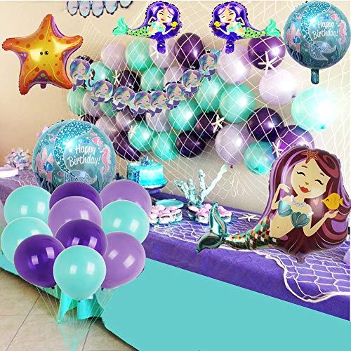foci cozi Meerjungfrau Party Supplies Set Dekoration, Bunting Banner, Fischnetz, Luftballons für Mädchen Party unter dem Meer Thema Braut und Baby Dusche (Meerjungfrau Kleine Ballons)