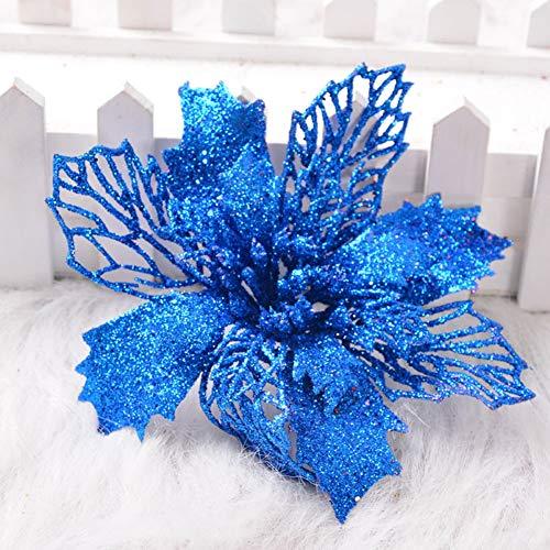 Trea2sure - 6 fiori ottagonali artificiali in filo di ferro cavo, decorazione per albero di natale, blue, 6.3 in
