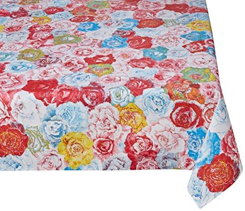 Georges G T22004/21-40 Les Roses Nappe Rectangulaire Coton Multicolore/Bleu Enduit 250 x 180 cm