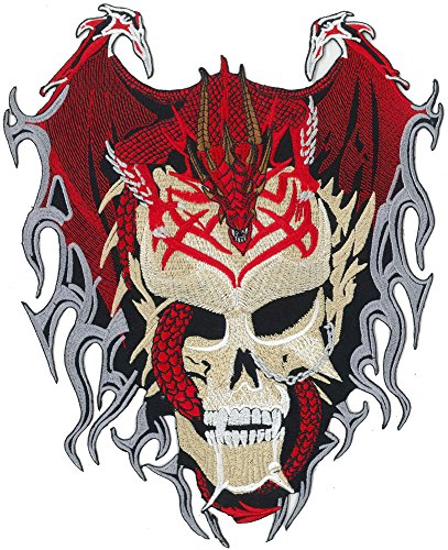 DRAGON Skull Head Tattoo Tribal Rockabilly Biker Death Metal BACKPATCH Aufnäher (Death Head Patch)