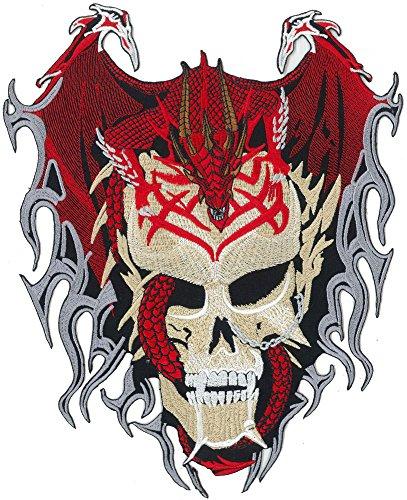 DRAGON Skull Head Tattoo Tribal Rockabilly Biker Death Metal BACKPATCH Aufnäher (Tattoo Tribal Dragon)