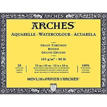 41 x 31 x 1 cm Arches 795087 Bloc Aquarelle Grain TORCHON Natur Blanc 300G 31X41CM 20P Bois
