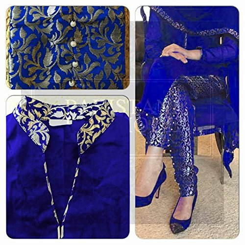 I-Brand Blue Colored Banglori Silk Fabric Salwar- Suit (Semi-Stitched) ( New Arrival Latest Best Design Beautiful Dresses Material Collection For Women and Girl Party wear Festival wear Special Function Events Wear In Low Price With High Demand Todays Special Offer and Deals with Fancy Designer and Bollywood Collection 2017 Punjabi Anarkali Chudidar Patialas Plazo pattern Suits )  available at amazon for Rs.595