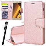 WE LOVE CASE Samsung A5 2017 Hülle Leder Handytasche  Samsung Galaxy A5 2017 Handyhülle  Rose Gold Flip Case Tasche Ba