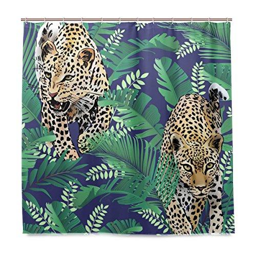 Yibaihe Dusche Vorhänge Cheetah und Leoparden Palm Blätter Polyester Stoff Gedruckt Schimmelresistent Wasserdicht für Badezimmer Badewanne, 12Haken 183x 183cm (Palm-baum-dusche Vorhang Ringe)