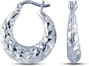Charmsy Argento Diamond cut forma rotonda puff orecchini a cerchio per le donne