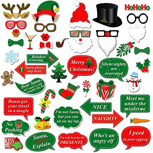 Howaf Weihnachten Photo Booth, 47 Pcs Weihnachtsmütze Brille Schnurrbart Masken Foto Requisiten Foto Accessoires Party Zubehör für Weihnachts Party Dekoration