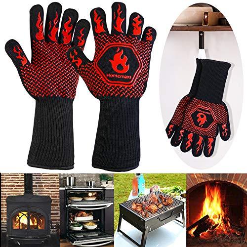 Homemaxs 800 °C Grillhandschuhe Ofenhandschuhe Hitzebeständige Kochenhandschuhe EN407-Zertifizierung BBQ Handschuhe Anti-Rutsch Silikon Handschuhe für zum Grillen, Kochen,...