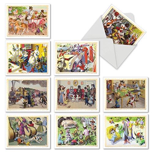 M6473ocb cats are people too: 10assorted blank all-occasion note cards stile vintage cartoline con felini impegnati in tutti i giorni e tempo libero, w/buste bianche.
