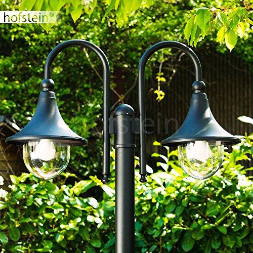 Kandelaber Elgin 2-flammig in Schwarz – Außenstehleuchte im modernen Design mit glockenförmigen Köpfen – Wegeleuchte aus Metall und Kunststoff