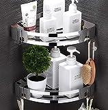 MACUH Home Mensola Doccia Mensola angolare - Piatto Doccia Vasca con 2 Ganci - Cestino Doccia - Senza Perforazione - Alluminio Spaziale, Lucido (Triangolo, Confezione da 2)