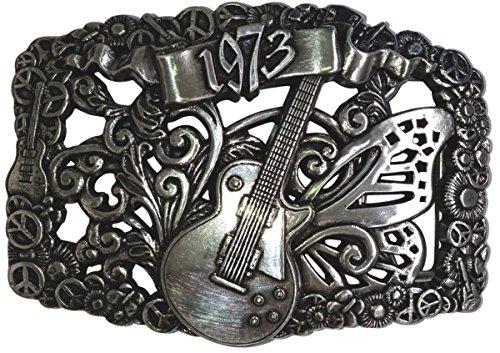 arre von 1973 4,0 cm Gürtelschnalle Buckle Hippie 1969 Peace Freiheit 1970er 70er Jahre Liebe Frieden Hanf, 7,0 x 10,0 cm, Silber (70er Jahre Gürtel)
