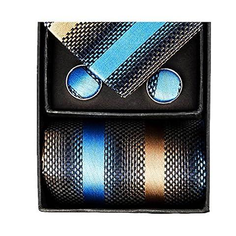Z-P Mens Neckties Brown Gradient Gorgeous Pocket Square Cufflinks Silk Tie Set