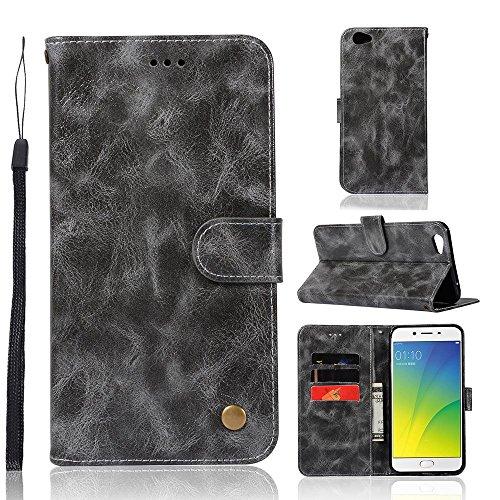 kelman Hülle für Oppo R9s Plus/Oppo F3 Plus Hülle Schutzhülle PU Leder + Soft Silikon TPU Innere Schale Brieftasche Flip Handyhülle - [JX02/Grau]