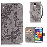 BoxTii Samsung Galaxy S5 Case + Free Tempered Glass Screen Protector, Diamond Leather Case, Book Style Flip Wallet Cover with Card Slots for Samsung Galaxy S5 (#6 Gray)