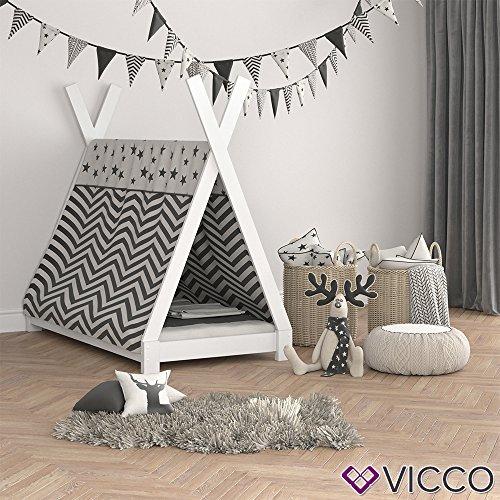 Vicco Kinderbett TIPI Kinderhaus Indianer Zelt Bett Kinder Holz Haus Schlafen Spielbett Hausbett 80x160 (Weiß) - 3