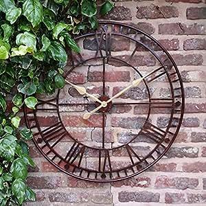 grande horloge murale de jardin g ant big face open chiffres romains 80 cm cuisine. Black Bedroom Furniture Sets. Home Design Ideas