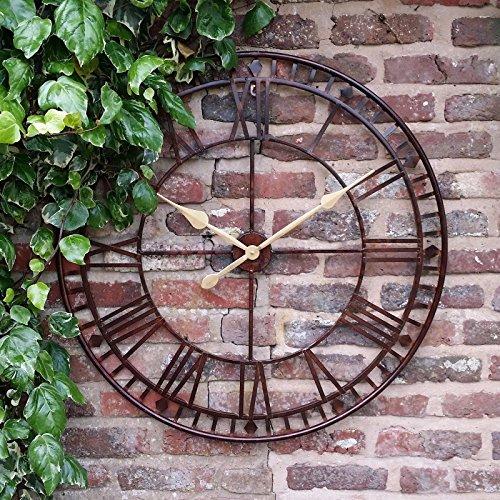 Westminster Grande horloge murale d'extérieur à chiffres romains, diamètre 80 cm
