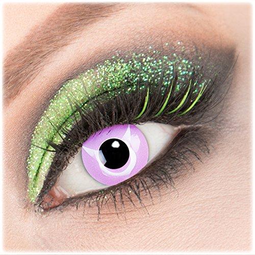 Farbige rosa violette 'Geass' Kontaktlinsen 1 Paar Crazy Fun Kontaktlinsen mit Behälter zu Fasching Karneval Halloween - Topqualität von 'Giftauge' ohne Stärke