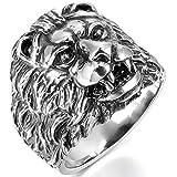 MunkiMix Edelstahl Ring Band Silber Ton Schwarz Löwe Größe 70 (22.3) Herren