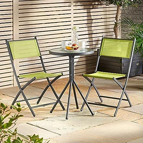 VonHaus Garden Table & Chair Bistro Set - 3 Piece