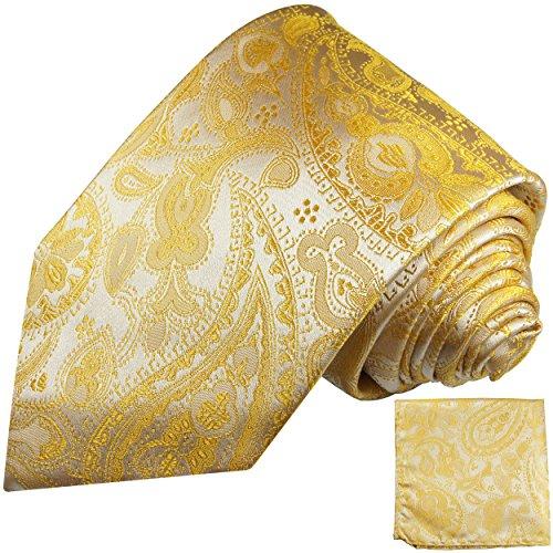 Cravate homme jaune paisley ensemble de cravate 2 Pièces ( 100% Soie Cravate + Mouchoir )