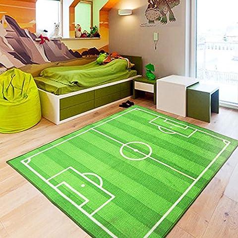 Alfombra infantil resbalón de polvo de Copa del mundo fútbol campo alfombra nylon , green , 100x130cm