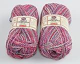 200 g ( = 2 Knäuel ) Sockenwolle MAGIC aus 48 % Baumwolle 39 % Schurwolle und 13 % Polyamid - modischer Farbverlauf trifft auf hohe Funktionalität - SUPERWASH - SUPER - SPAR - PAKET - Markenwolle von Melanie Wolle - zeitlos und aktuell - maschinenwaschbar, filzfrei und formstabil - in vielen weiteren Farben erhältlich - hier in der Farbe : (flamingo)