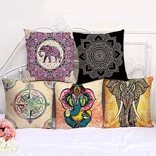 XiaoHeJD Moda Elefante Mandala Funda de cojín decoración del hogar Funda de Almohada sofá decoración 5 unids