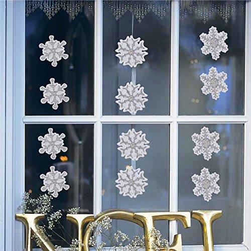 Fensterbilder Set Fensterdeko Schneeflocken Design für Winter und Weihnachten in glitzer selbstklebend (28-Aufkleber) von TK (Dekorationen Gel Fenster)