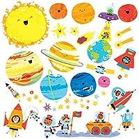 DECOWALL Planeta Espacio El Universo Vinilo Pegatinas Decorativas Adhesiva Pared Dormitorio Salón Guardería Habitación Infantiles Niños Bebés (1707 8017)