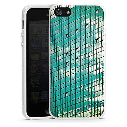 Apple iPhone 5s Housse Étui Protection Coque Fenêtre Fenêtre Fenêtre Housse en silicone blanc
