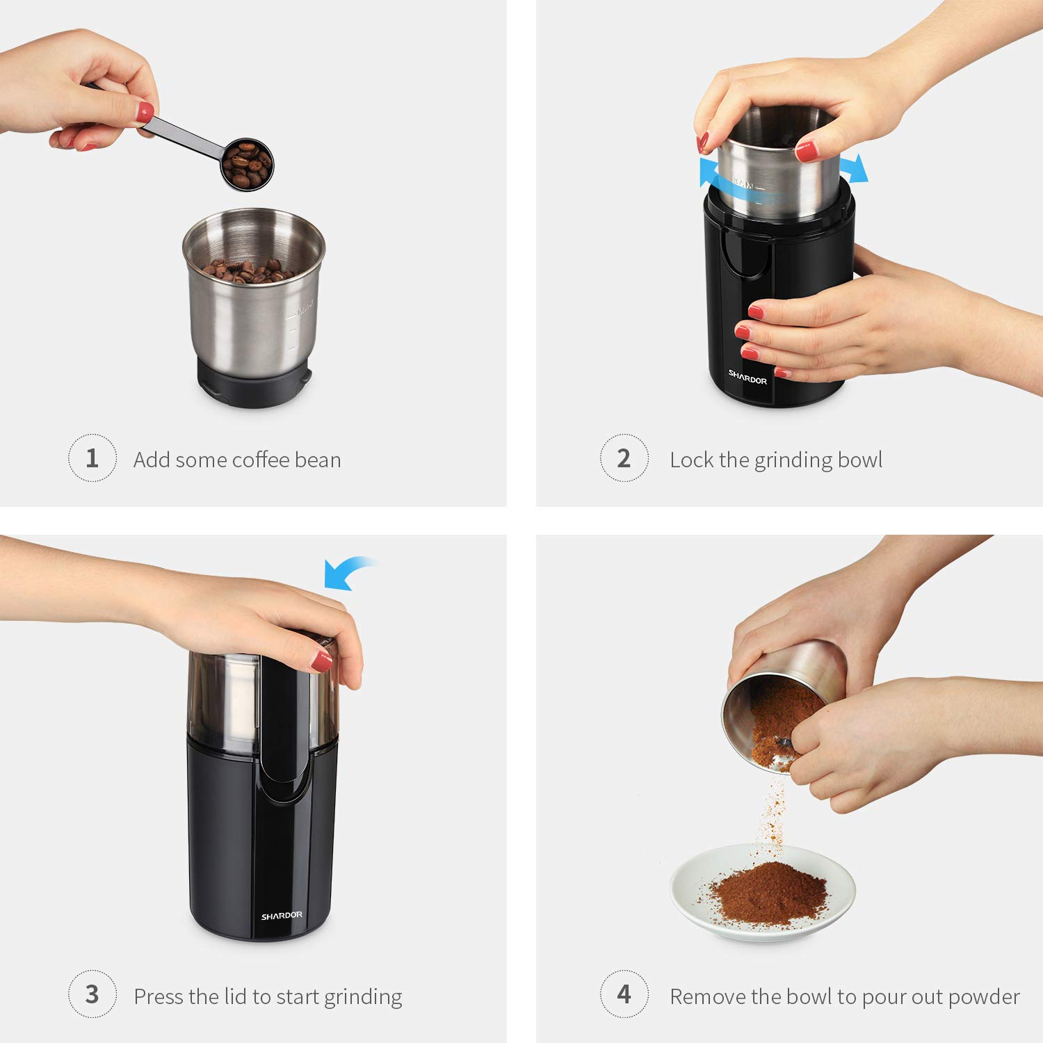 SHARDOR-Coffee-Grinder-Electric-200W-Removable-Bowl-with-Stainless-Steel-Blade-Grinder-for-Coffee-Bean-Spice-Seed-Nut-Herb-Pepper-70g-Black