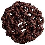 SODIAL(R)2 Pcs brun Nylon Maille elastique noeud Bun couvertures filets a cheveux pour les femmes