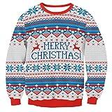 Partiss Unisex Merry Christmas Printed Langarm Weihnachten Sweatshirt Weihnachtspullover Rundhals Pulli Langarmshirt,Tag L/EU S,As picture