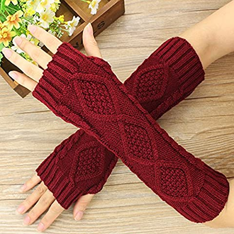 HHBO Gants d'hiver Knit Warm Lady Finger Arm Cover , Crimson