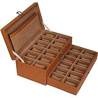 Leather World 24 Slots Men Watch Box Drawer With Lock System Organizer Display Case Jewellery Storage Women -Tan