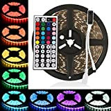LEDMO RGB Ruban LED Kit 12V DC, 300 LEDs, IP65 Lumières Bande LED étanches bande LED 5m ruban LED + 44 Télécommande IR clé inclus, Lumières RVB Ruban LED multicolores, éclairage de décoration de fête et pour l'éclairage de cuisine à domicile.