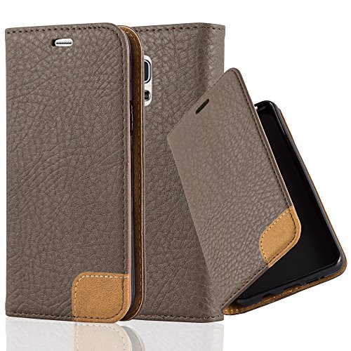 Preisvergleich Produktbild Cadorabo Hülle für Samsung Galaxy S5 Mini / S5 Mini Duos - Hülle in ERD Braun – Handyhülle mit Standfunktion,  Kartenfach und Textil-Patch - Case Cover Schutzhülle Etui Tasche Book Klapp Style