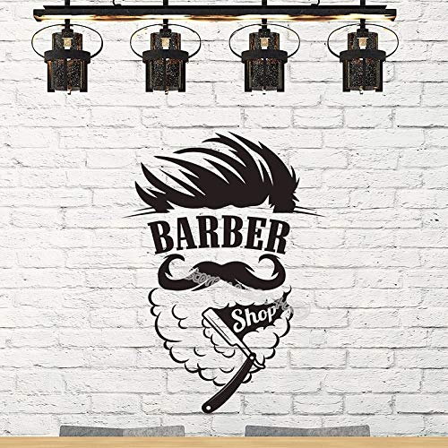 Friseur Männer Logo Wandaufkleber Barbershop Zeichen Wandbild Mann rasieren Haarschnitt Schönheitssalon Hipster Modellierung Fenster Aufkleber 56X77CM
