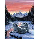Bits and Pieces - 1000 Piece Glow in the Dark Puzzle - Winter's Dawn, Snowy Winter, Wolf - by Artist Jeff Tift - 1000 pc Jigsaw by Bits and Pieces