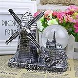 DONG Dutch Windmill Building Model Bola de cristal creativo de la nieve con las luces Decoración casera retra Regalos , b , m