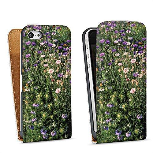 Apple iPhone 5s Housse Étui Protection Coque Prairie de fleurs Fleurs sauvages Champ de fleurs Sac Downflip blanc
