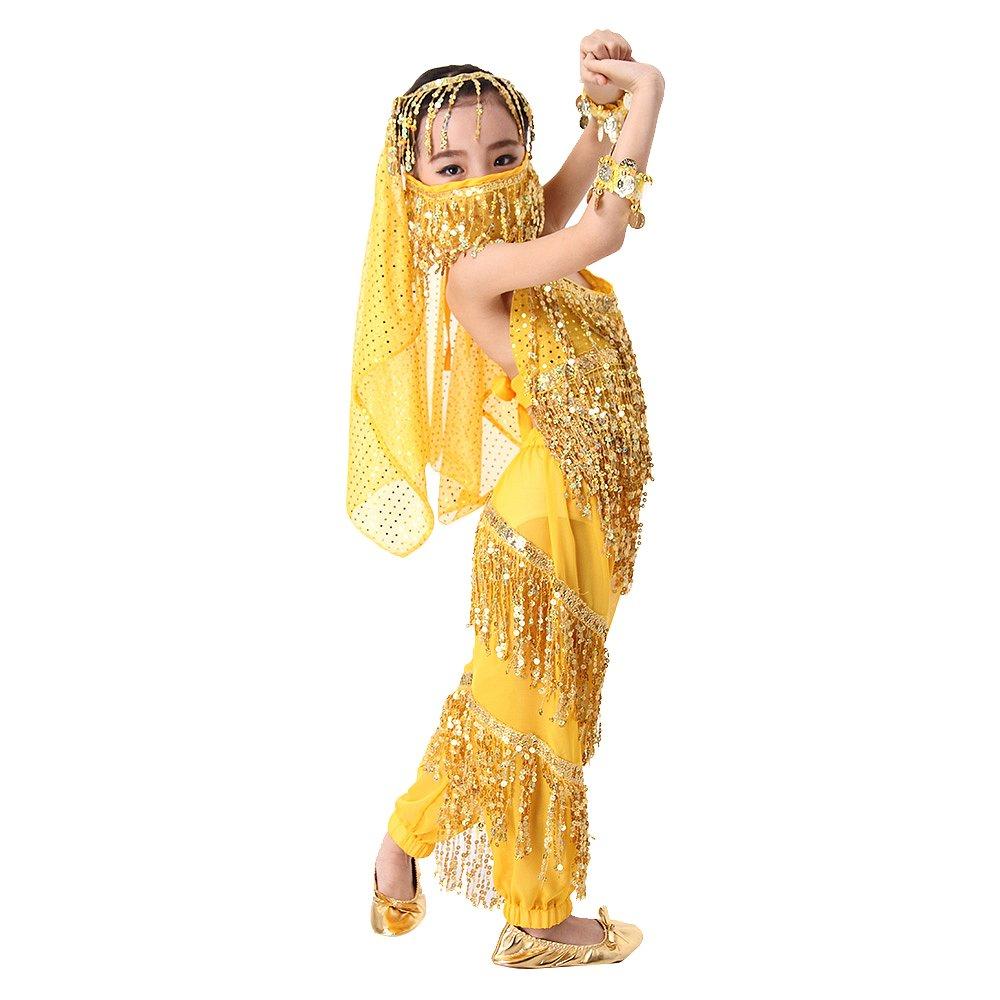 Besmall Costume Danza del Ventre Bambina Ragazza Paillette Rosa-Top+Pantaloni
